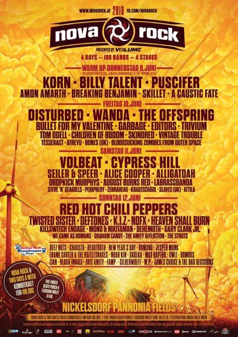 affiche festival NOVA ROCK 2016