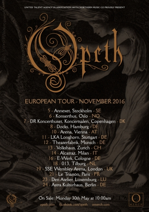 affiche OPETH 2016 europe